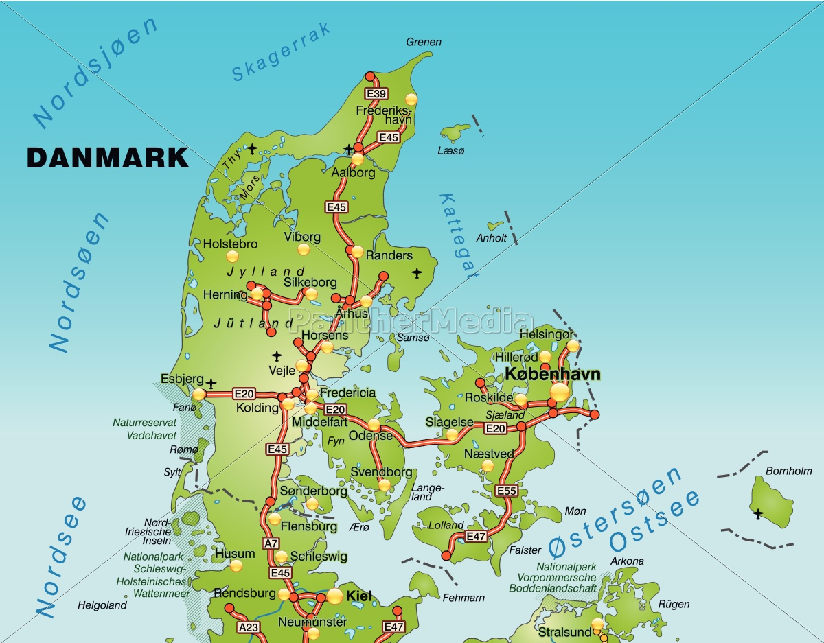 Map Of Denmark With Transport Network Royalty Free Image