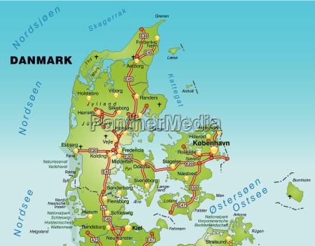 map of denmark with transport network