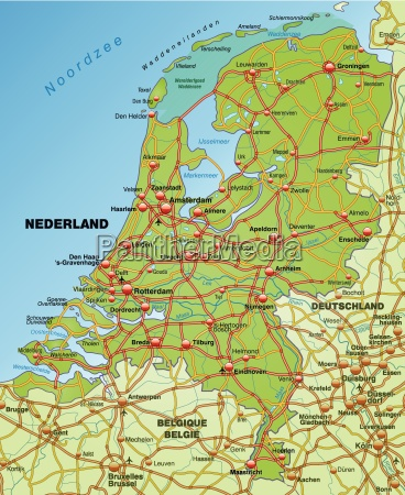 map of netherlands with transport network