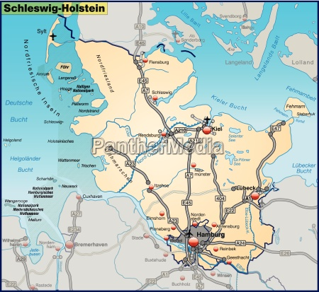 map of schleswig holstein with transport