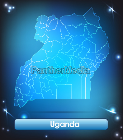 map of uganda with borders in