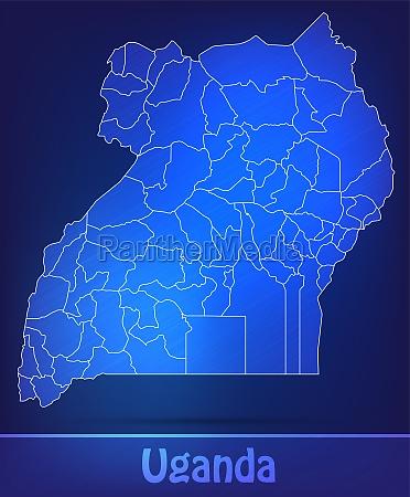 map of uganda with borders as