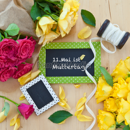 colorful roses and small boards