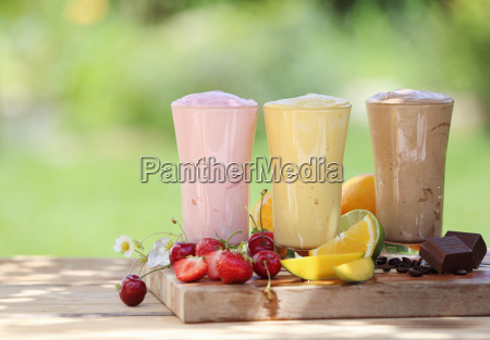 three fruit or choclate smoothies or