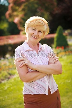 certitude confident trendy senior woman pensioner