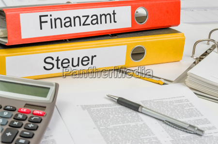 file folders labeled tax office and