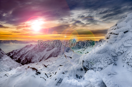 winter mountains scenic view with frozen