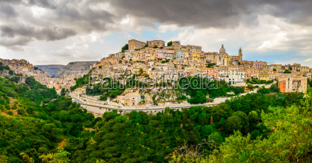 panoramic view of ragusa medieval town