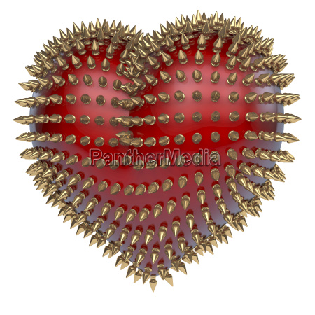 red glossy heart with golden metal
