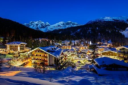 illuminated ski resort of madonna di