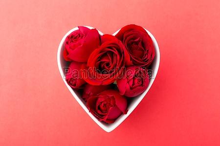 red rose inside heart shape bowl