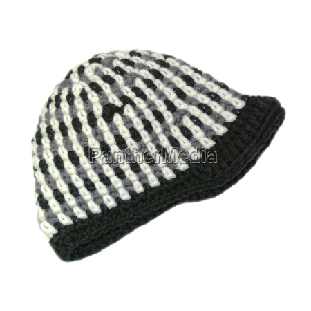 crocheted cap in black and white