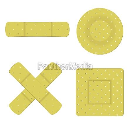 set of adhesive bandage plasters
