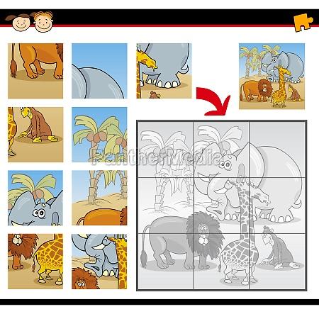 cartoon wild animals jigsaw puzzle game