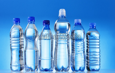 composition with assorted plastic bottles of