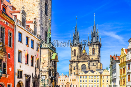 view of colorful old town and