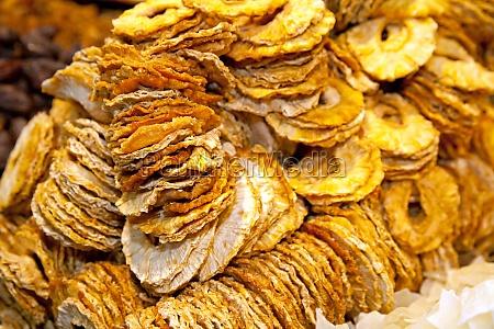 food dried pineapple sliced