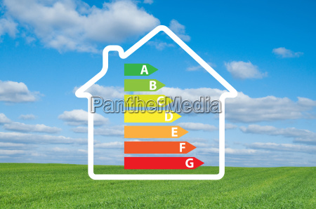 house and energy efficiency graph on