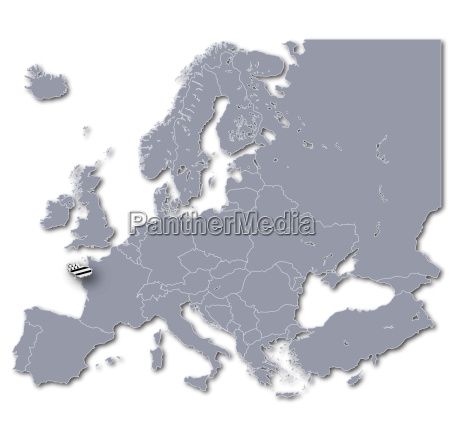 europe map with brittany