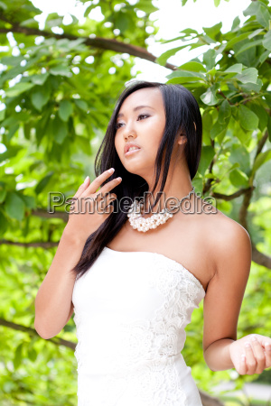 young attractive asian woman with dark