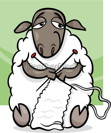 knitting sheep cartoon illustration