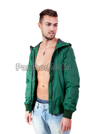 young adult man with green jacket