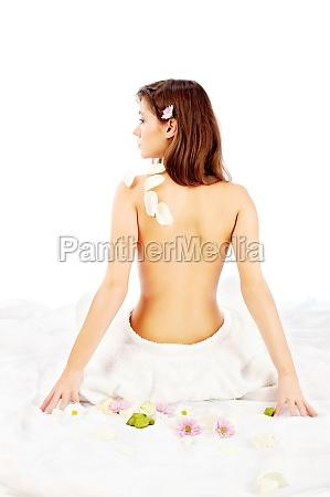 back of pretty spa woman