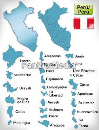 map of peru with borders in