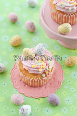 small cupcake with easter eggs
