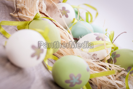 colorful painted easter eggs green easter