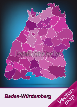 map of baden wuerttemberg with borders