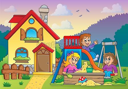 children playing near house theme 1