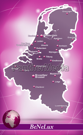 map of benelux countries abstract background