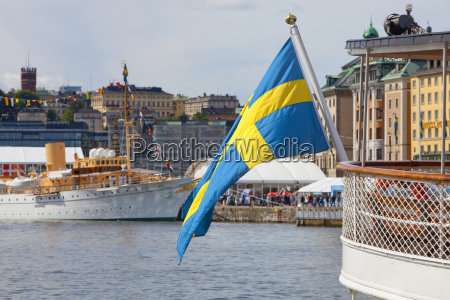 sweden stockholm swedish flag on
