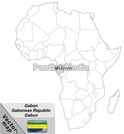 map of gabon with main cities