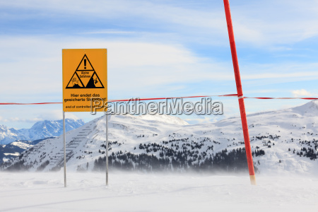 danger sign on the top of