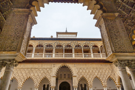 courtyard of maidens arches alcazar royal