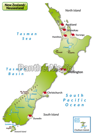 map of new zealand as infographic