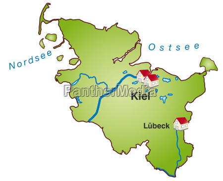 map of schleswig holstein as infographic