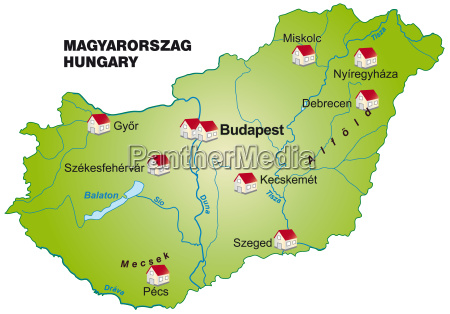 map of hungary as infographic in