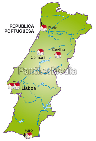 map of portugal as infographic in