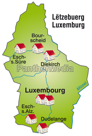 map of luxembourg as infographic in