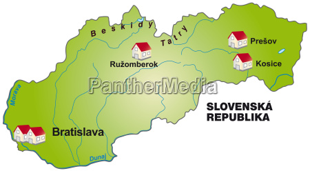 map of slovakia as info graphic