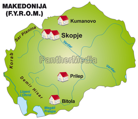 map of macedonia as infographic in