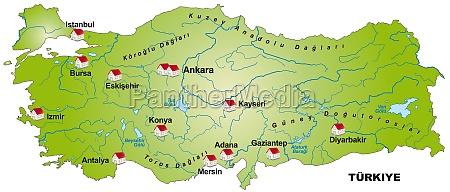 map of turkey as an infograph
