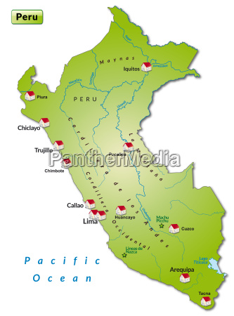 map of peru infographic in green