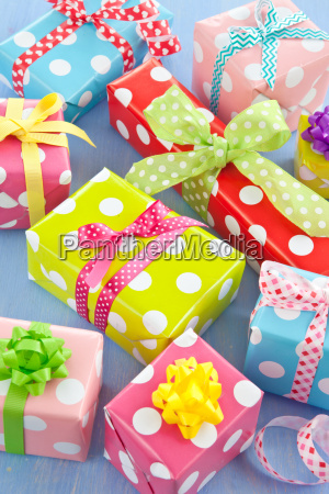 colorful presents in small boxes