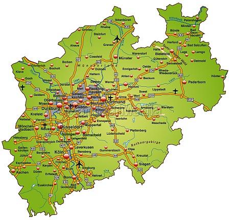 map of north rhine westphalia with