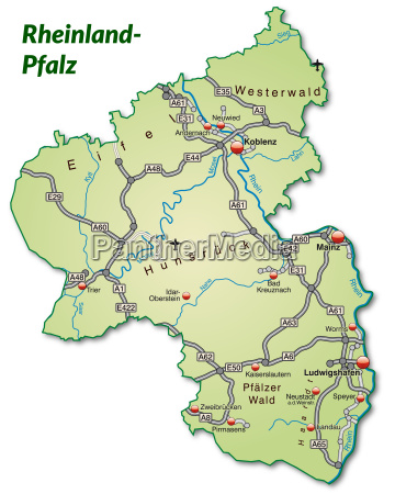 map of rhineland palatinate with transport