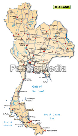 map of thailand with transport network